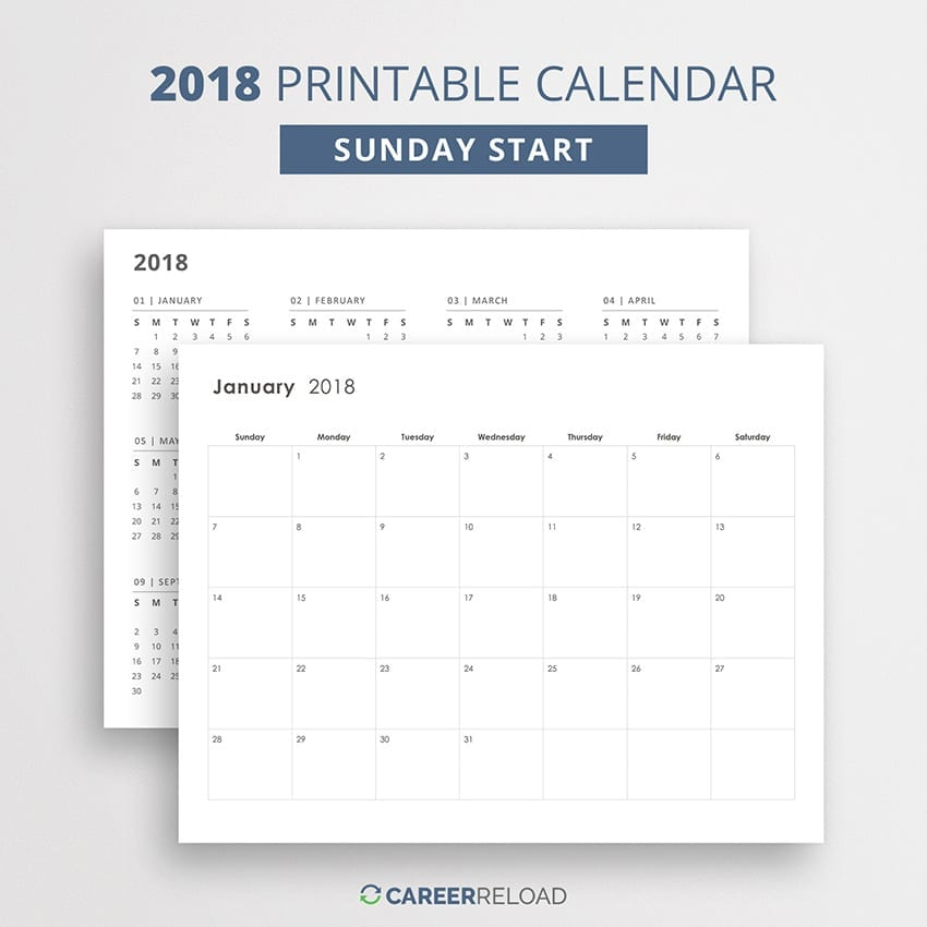 2018 calendar with Sunday start - Minimalist calendar