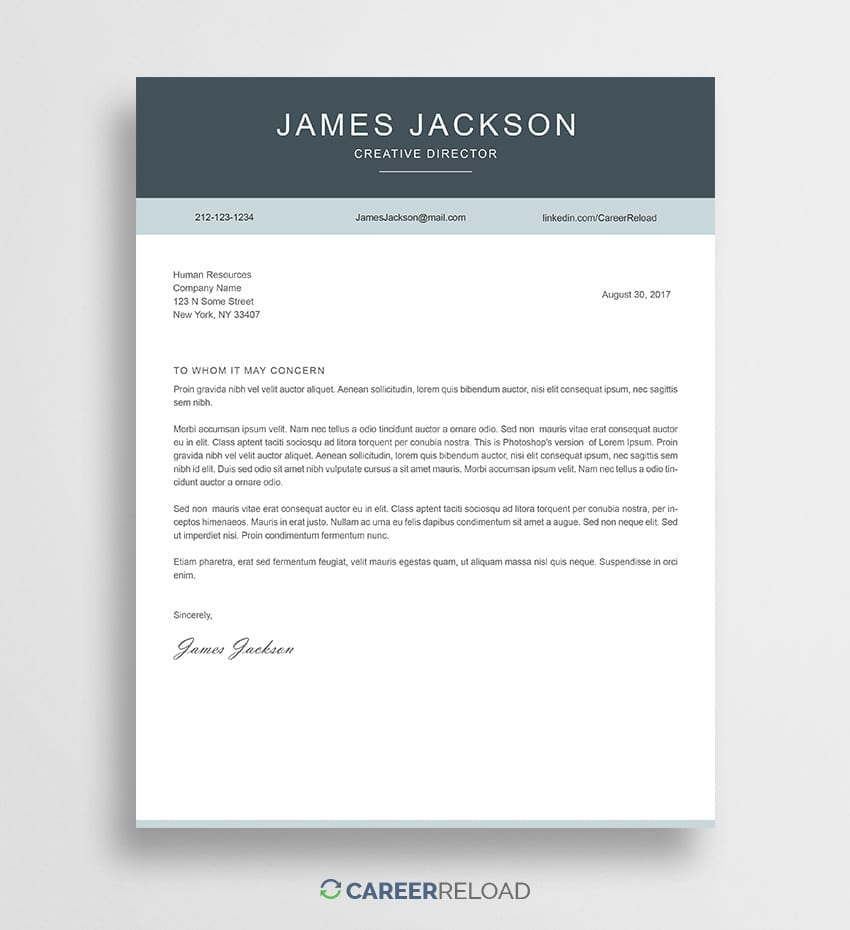 Cover Letter Template Free from www.careerreload.com