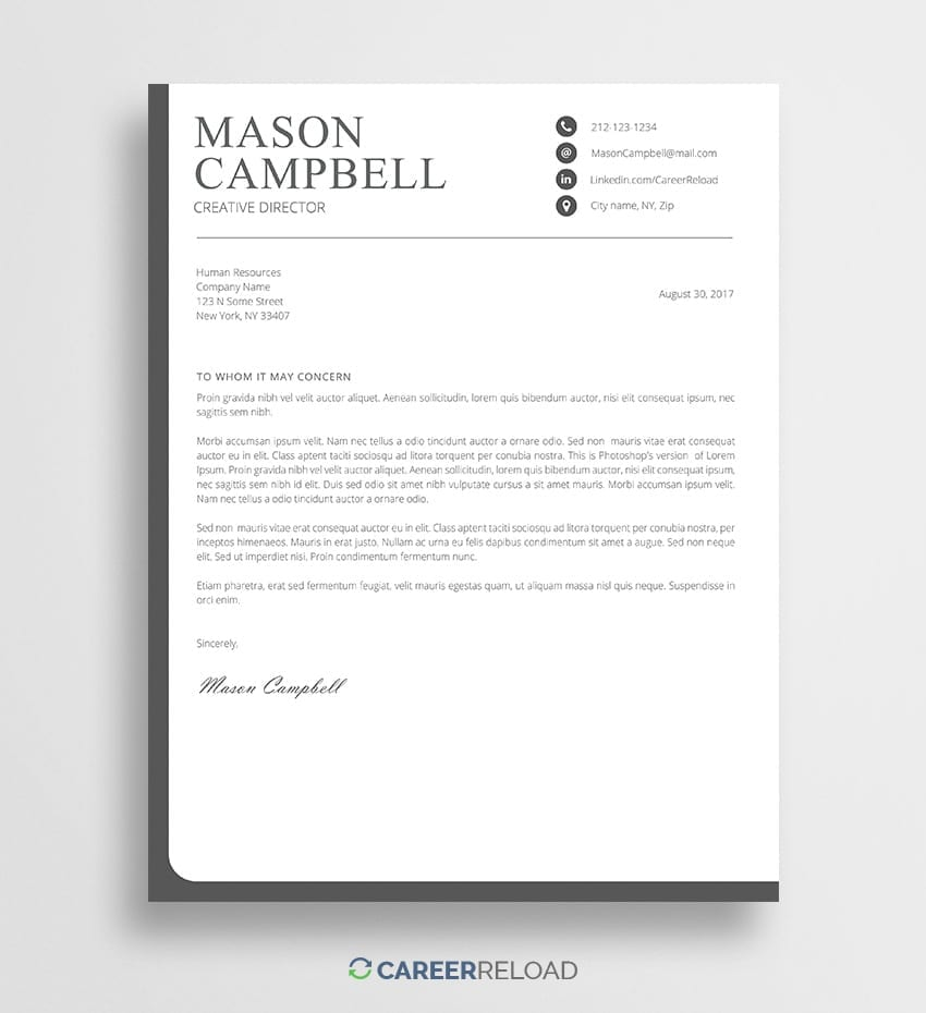 Free Photoshop Cover Letter Templates - Free Download