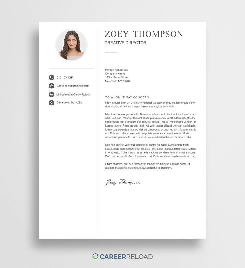 Cover Letter For Photoshop  Free Cover Letter Templates