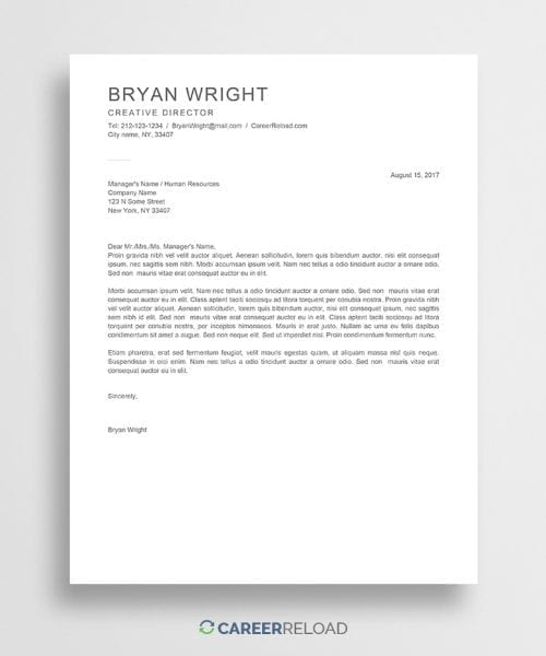 Free Word cover letter