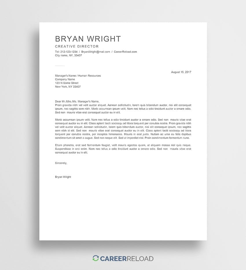 Free Cover Letter Templates For Microsoft Word Download