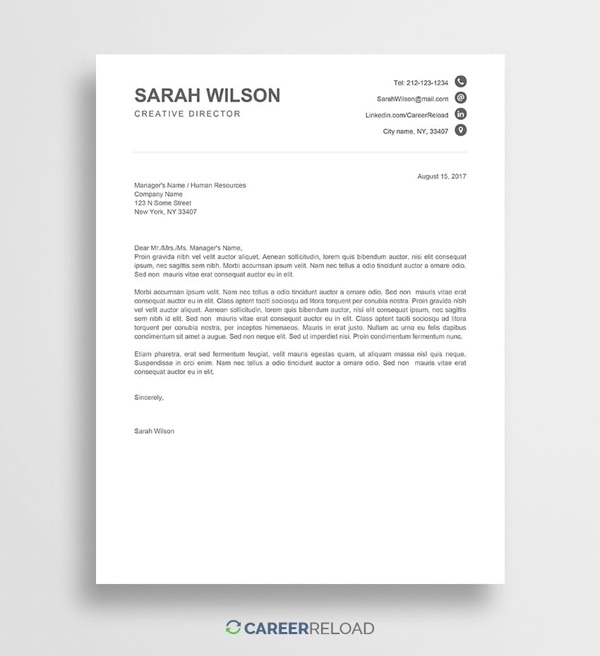 Free Cover Letter Template Download from www.careerreload.com