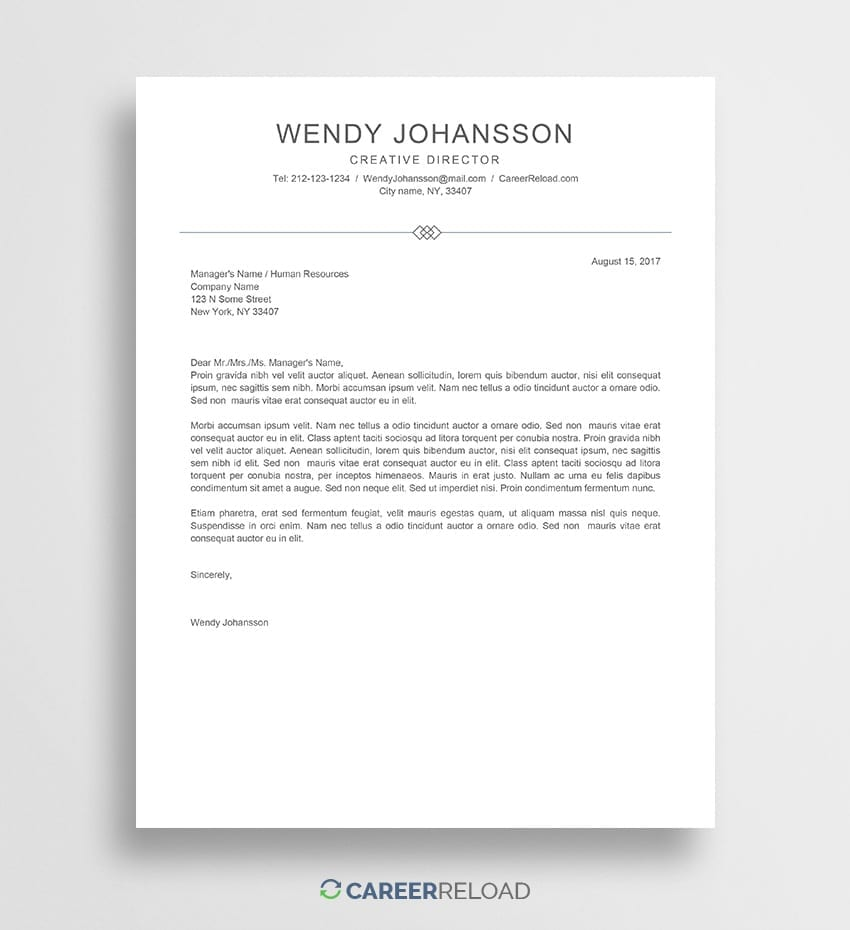 Free Cover Letter Template - Wendy - Career Reload