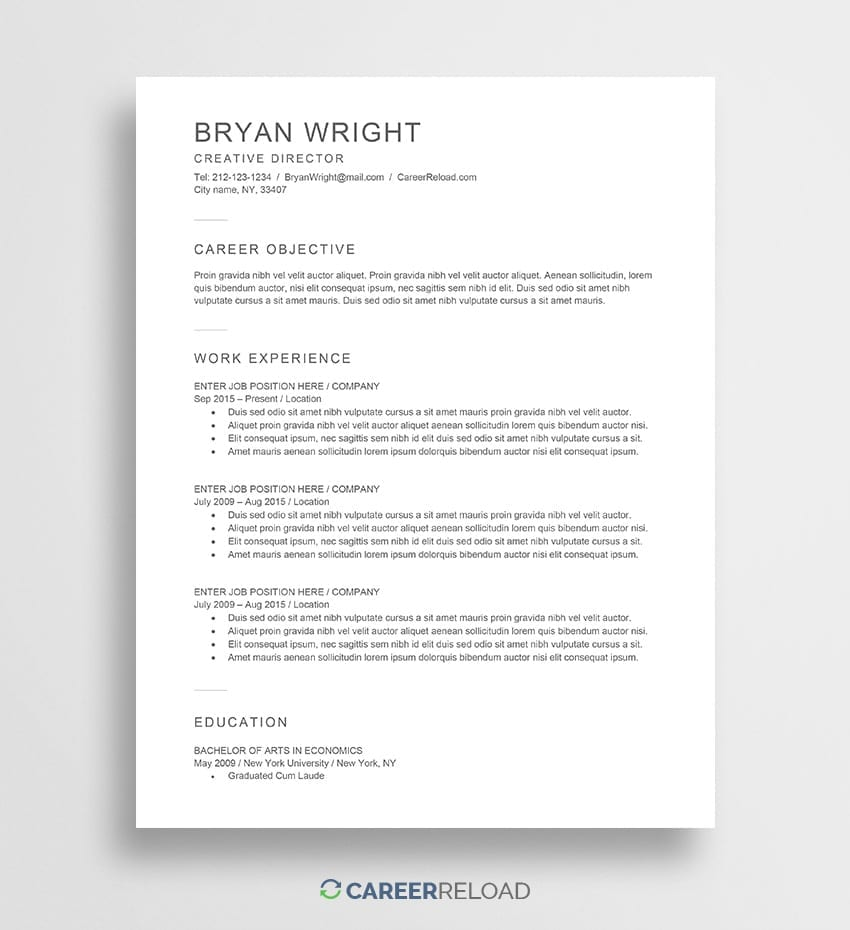 free word resume template - Free Word Resume Templates