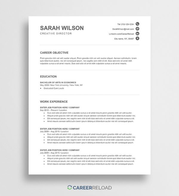 Free Word CV template