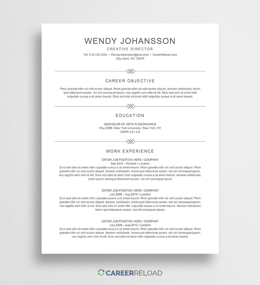 Free Resume Template · Free Word Resume Template · Free Resume Download  Free Word Resume Template Download