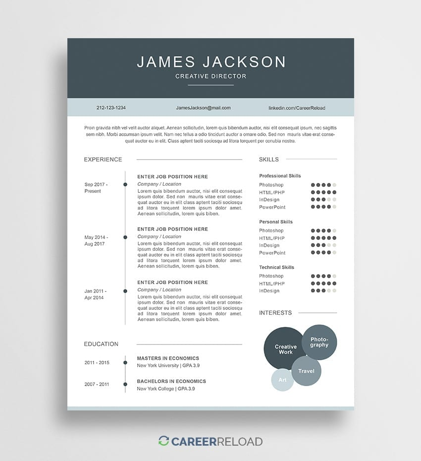 free photoshop resume templates - free download - career reload