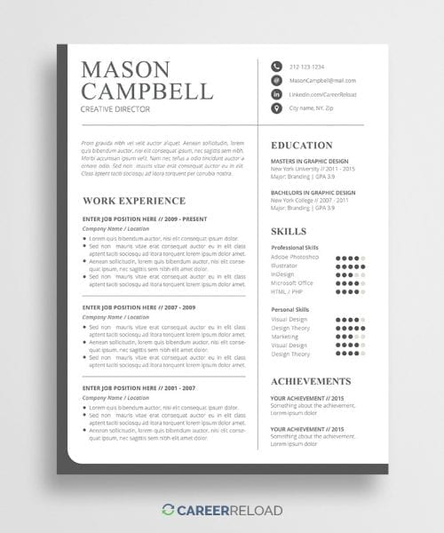 Creative PSD Resume Template