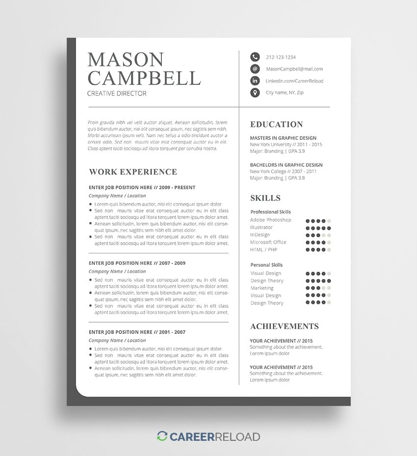 Free Resume Templates With Picture