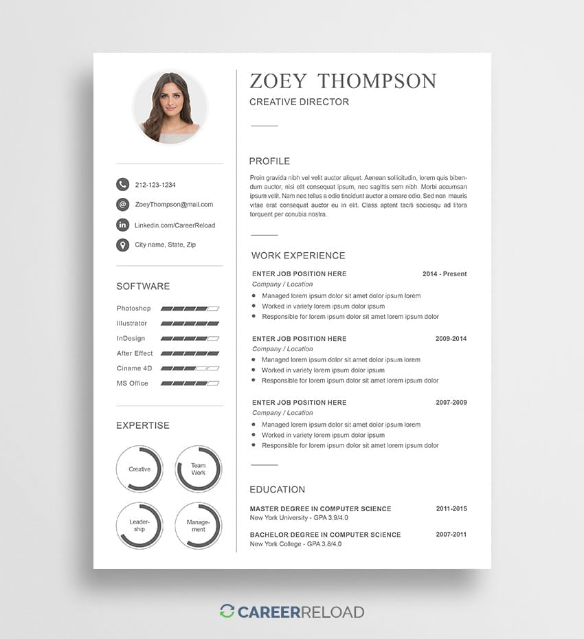 Photoshop resume template download