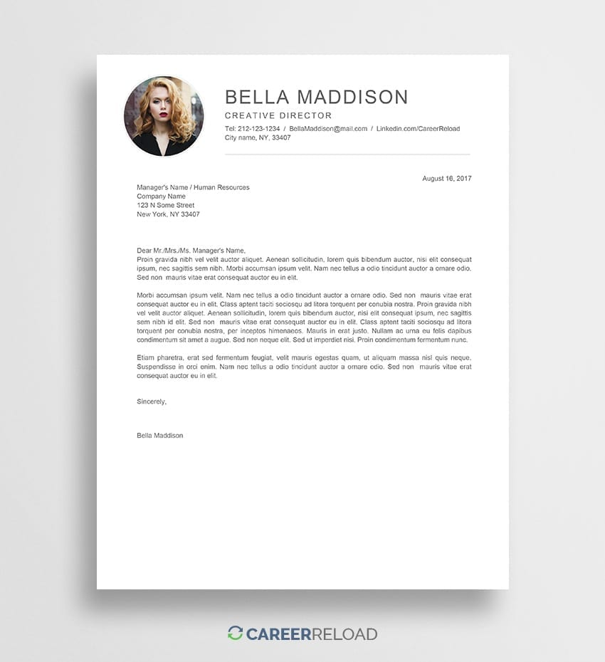 Free Cover Letter Template | Free Cover Letter Templates For Microsoft Word Free Download