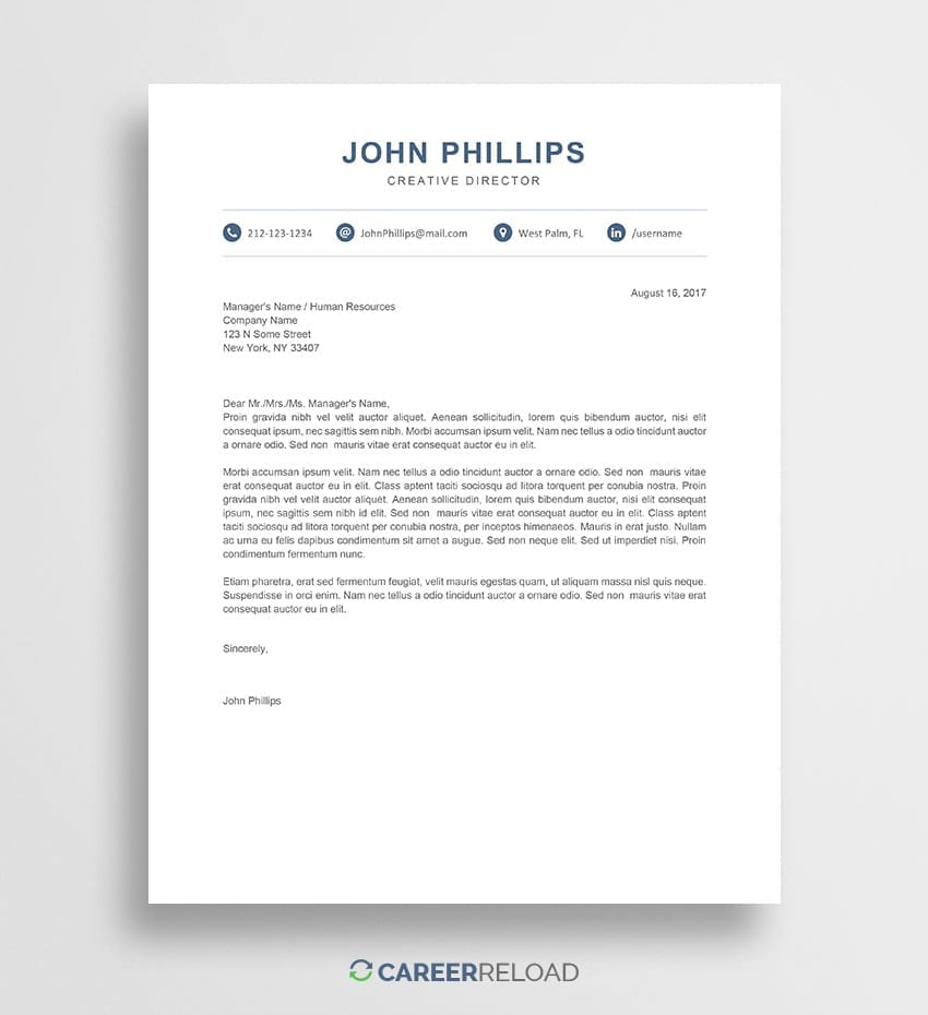 Modern Cover Letter Download Template Free Creative Word