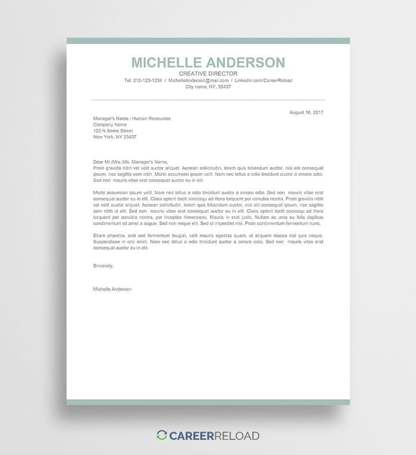 Cover Letter Template Free Creative Word