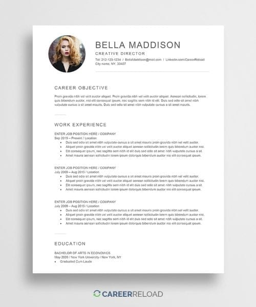 Free resume with photo