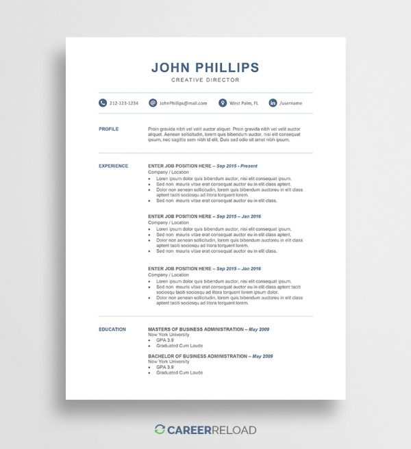 Free Word resume template download