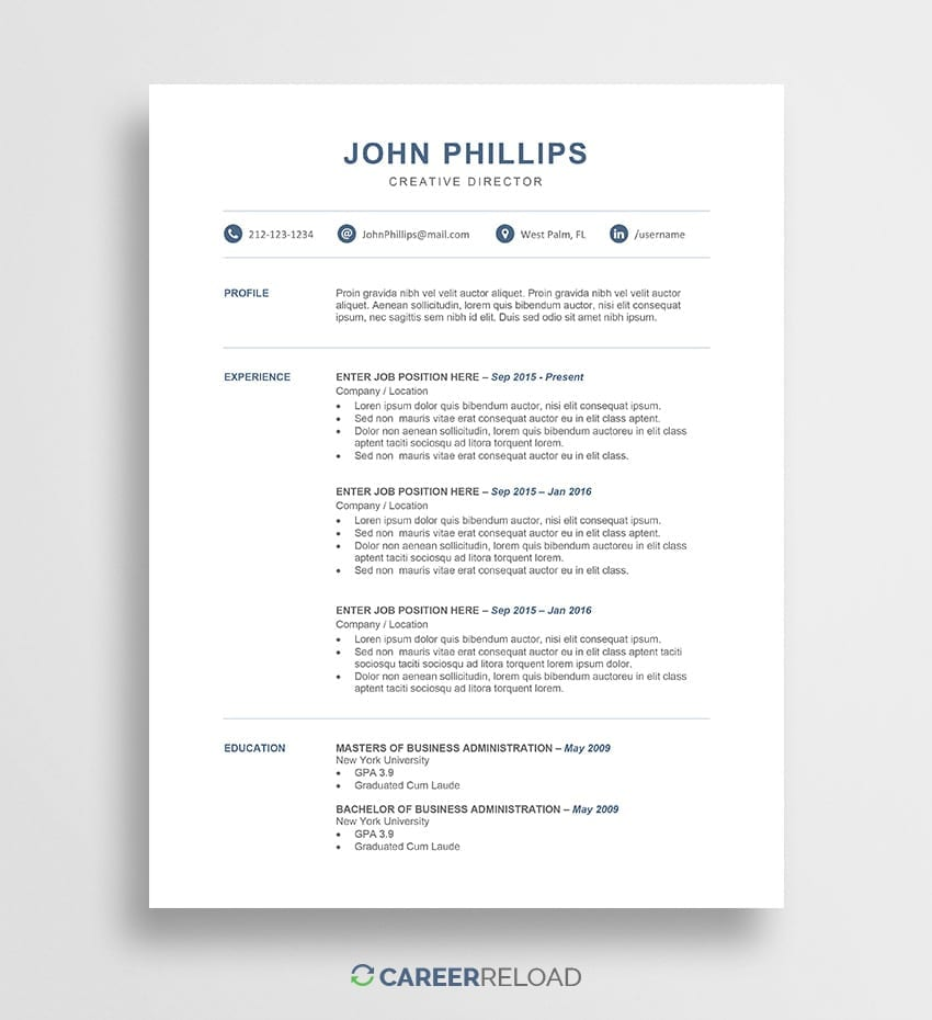 Free Modern Resume Template - John - Career Reload