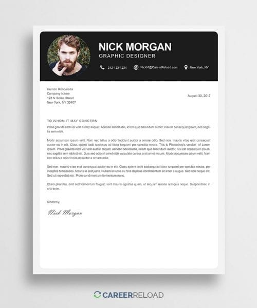 Photoshop cover letter template