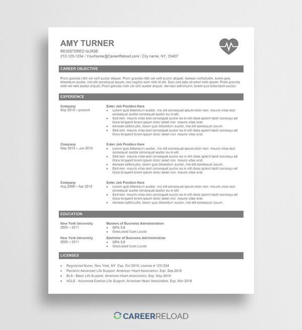 Free nursing resume template