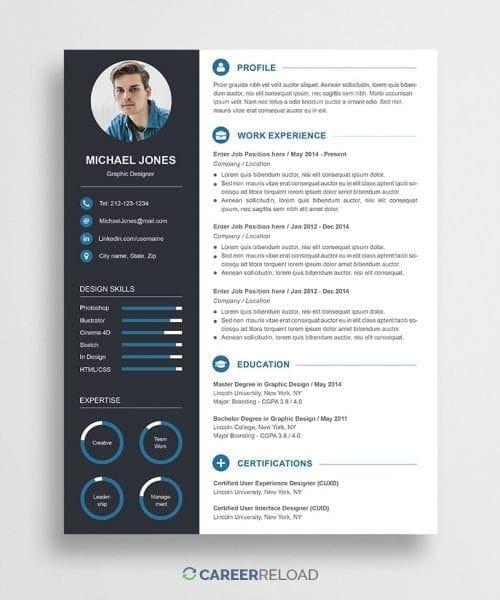 free modern resume template - john