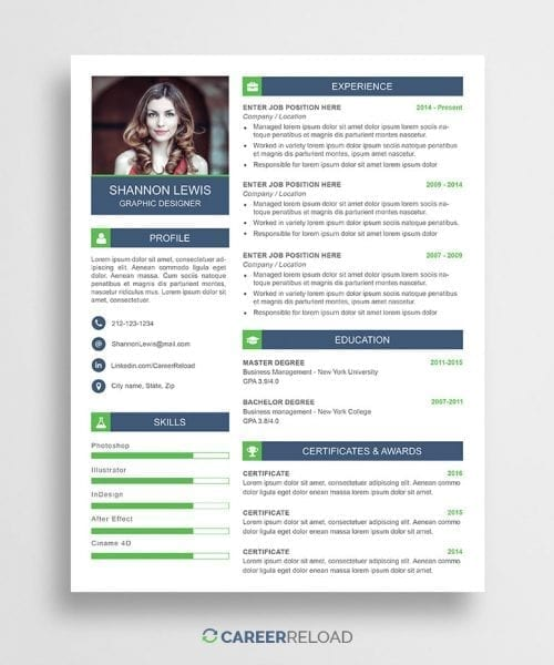 Free Photoshop CV Template