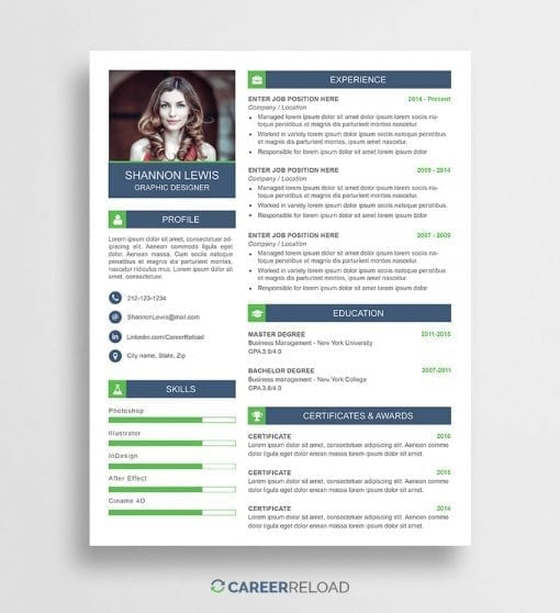 PSD resume template download