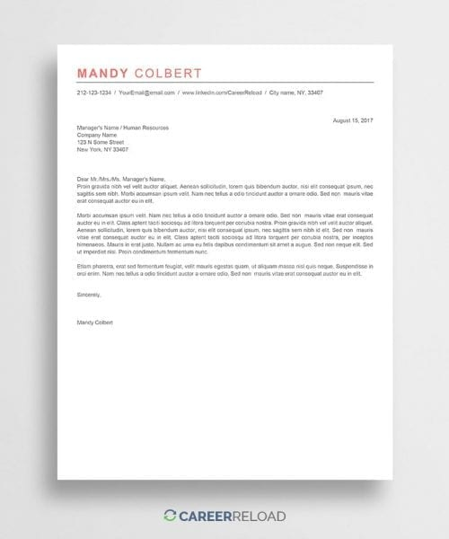 free cover letter mandy