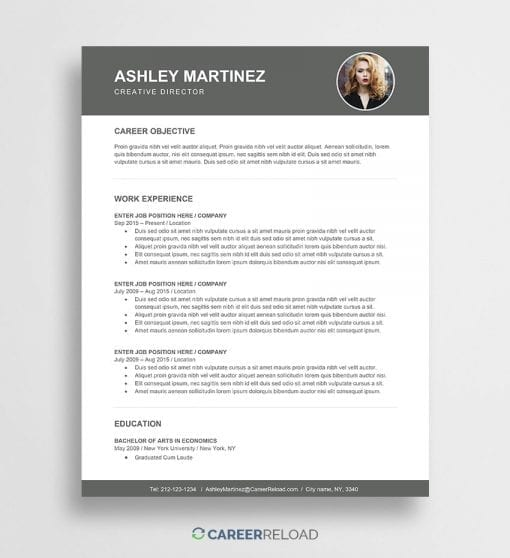 Free resume template with photo