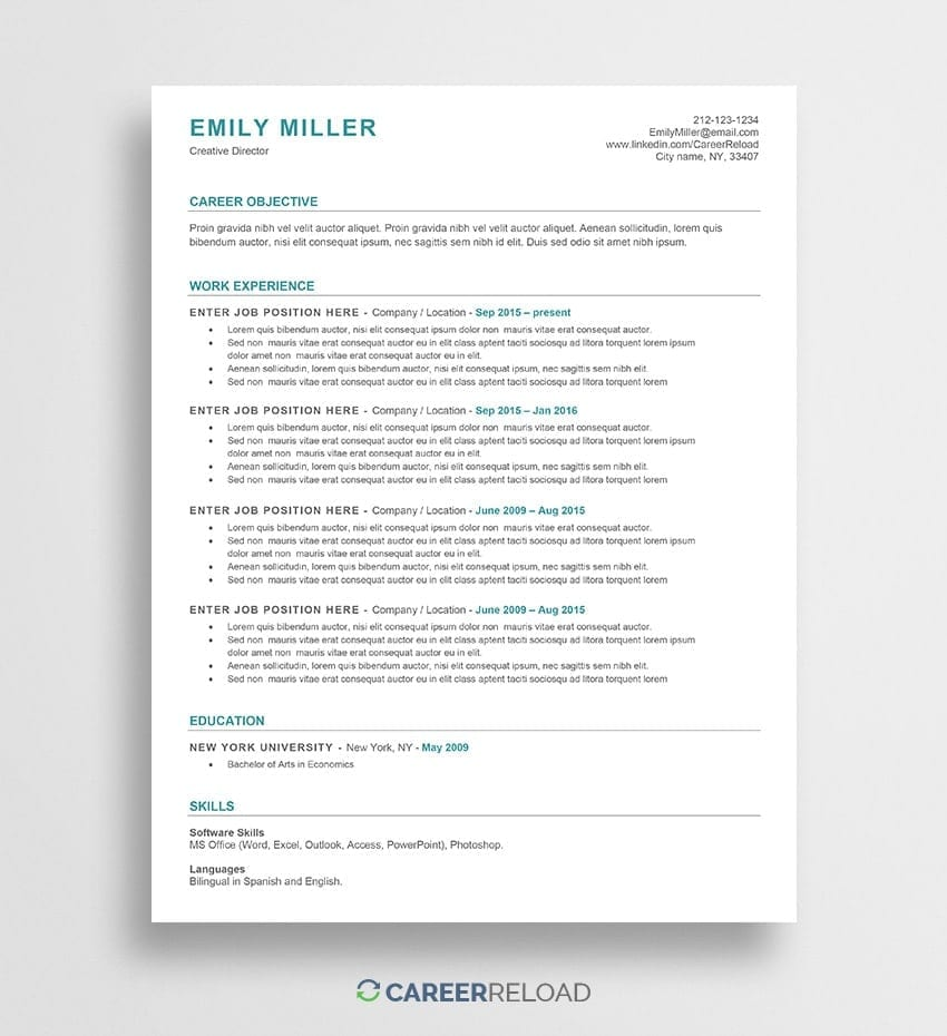 Free ATS Resume Template - Emily - Career Reload