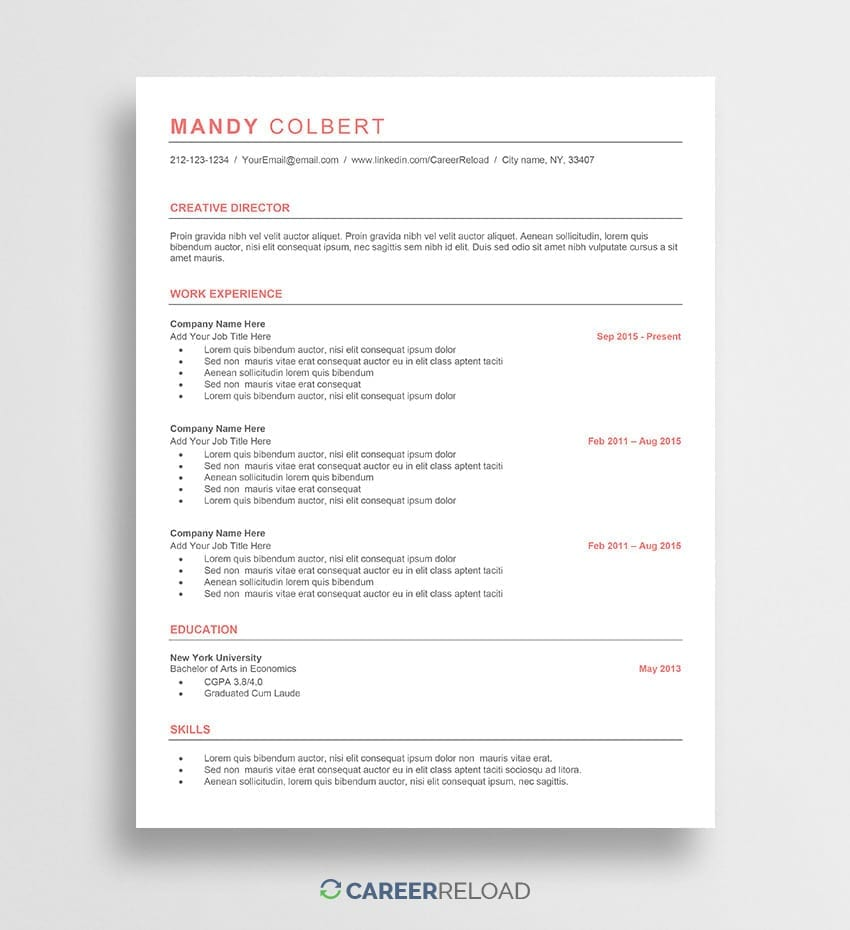ats resume template free ats resume template - Free Job Resume Templates