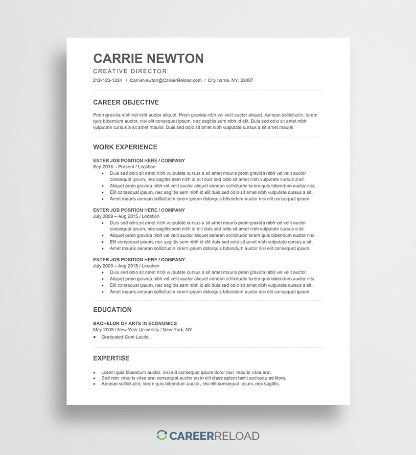 Free Ats Resume Template Carrie Career Reload