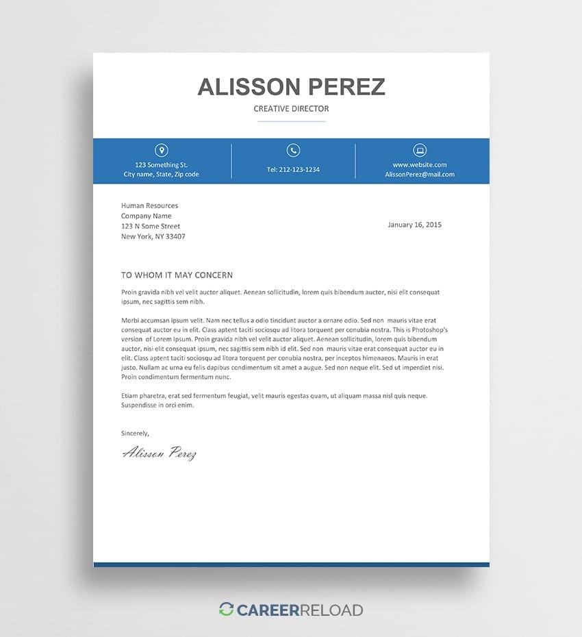 Free Cover Letter Template - Alisson - Career Reload
