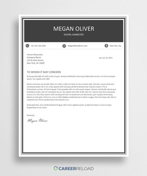 Free creative Word cover letter