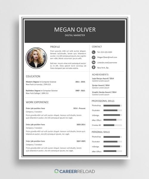 Free creative Word resume template