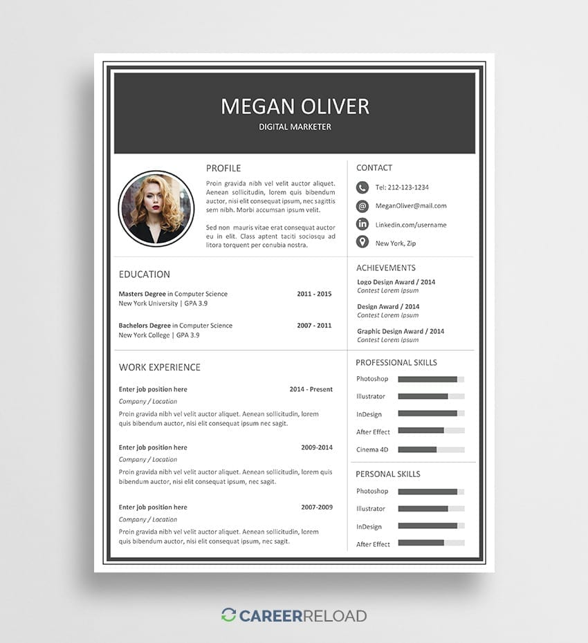 Free Creative Word Resume Template