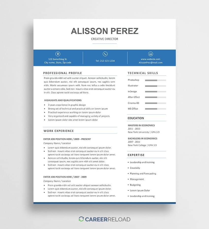 Free Word Resume Template - Alisson - Career Reload