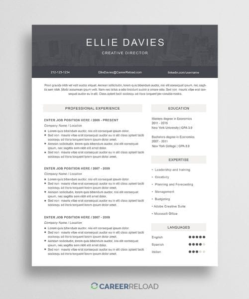 Free Photoshop PSD Resume Template