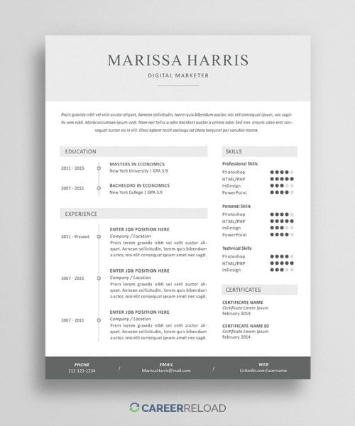 PSD Resume Template for Photoshop