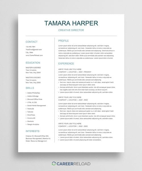 Free Google Docs CV template download