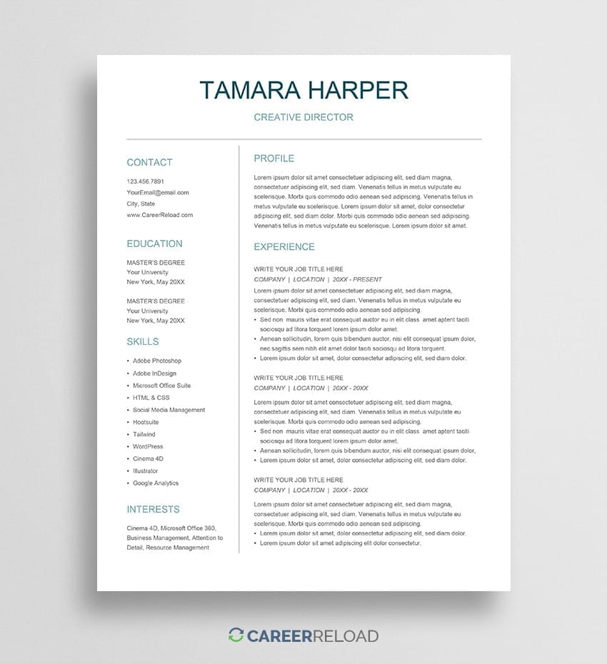 free resume templates for google docs