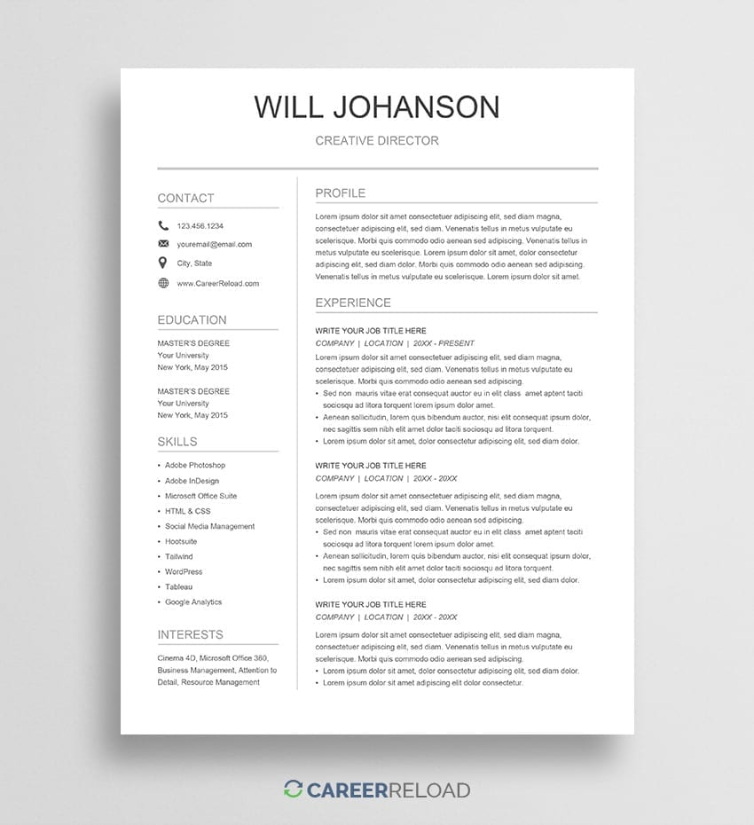 Free Google Docs Resume Template Download Career Reload
