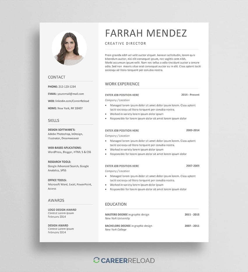 Free Resume Template Download For Word Career Reload