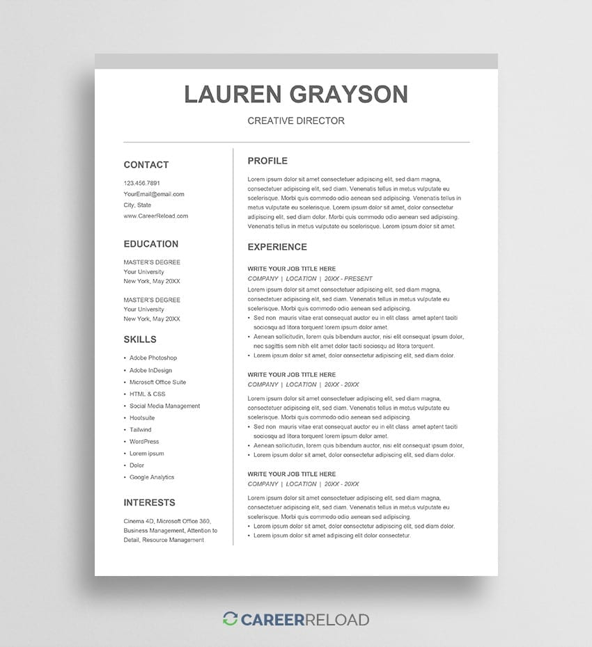 Free Google Docs Cv Template Download Career Reload