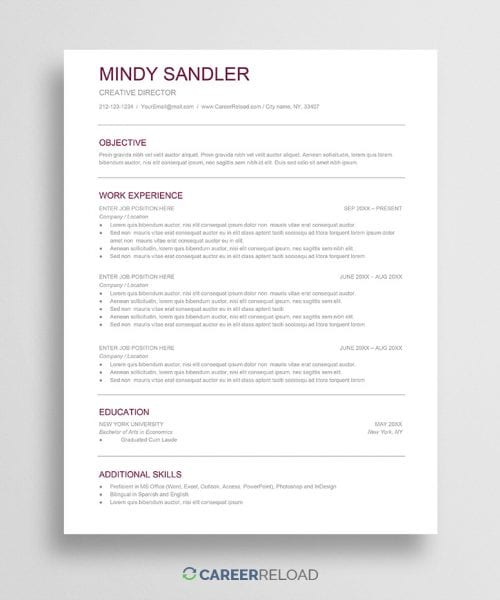 Free Google Docs resume download