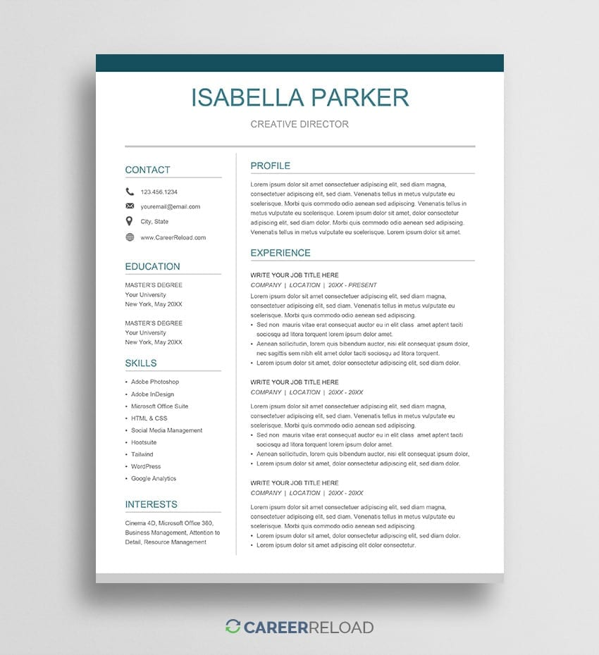 Free Google Docs Resume Template Career Reload