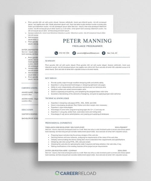 Free resume template freelancer