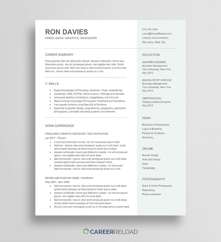 Freelancer Resume Template - Free Download