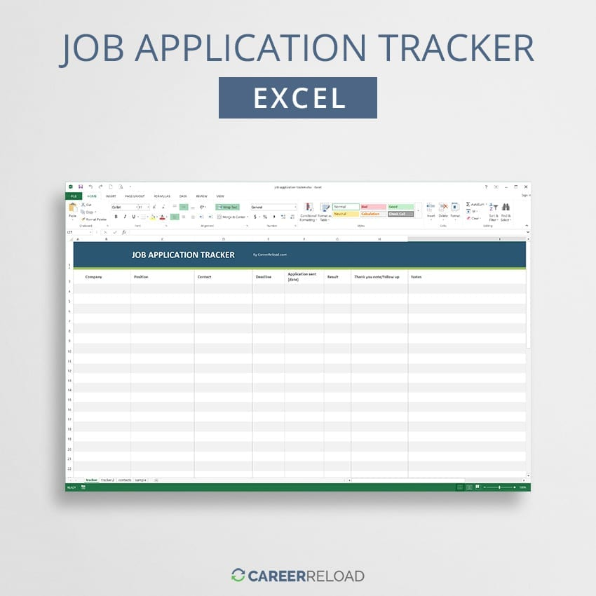 Job application tracker for Excel