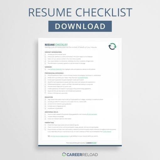 Resume checklist