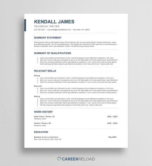 Free career change resume